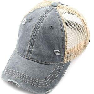 Hatsandscarf Washed Cotton Denim Ponytail